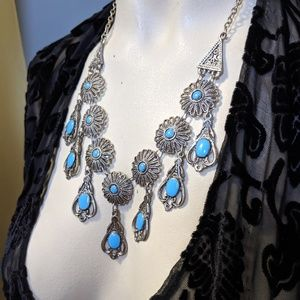 Vintage Bohemian Turquoise Blue Enamel Necklace